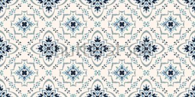 Fototapeta Wzór Talavera. Azulejos portugalia. Ozdoba Tureckiego. Marokańska mozaika kafelkowa. Hiszpańska porcelana. Ceramiczna zastawa stołowa, nadruk z ludowych motywów. Hiszpańska ceramika. Pochodzenie etnic