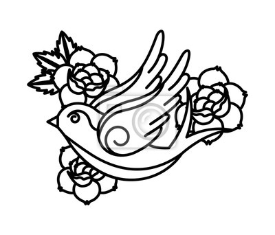 Fototapeta Wzór Tatuażu Róże