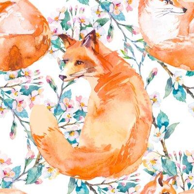 Fototapeta wzór w naturalnym środowisku. Fox i gałęzi kwitnących. Wektor.