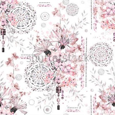 Fototapeta wzór z akwarela kwiaty i teksturowane ozdoby - mandali. Abstract kwiatowy tło. Płytka z łąkowym dzikim kwiatem i Geometryczną ilustracją.