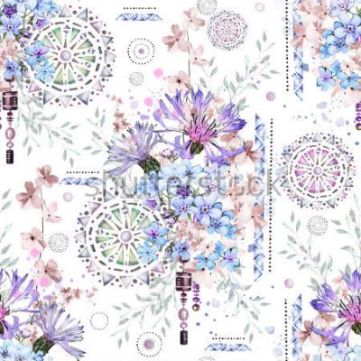 Fototapeta wzór z akwarela kwiaty i teksturowane ozdoby - mandali. Abstract kwiatowy tło. Płytka z łąkowym dzikim kwiatem i Geometryczną ilustracją. Chabry, ja nie