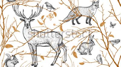 Fototapeta Wzór z gałęzi drzew, zwierząt leśnych i ptaków. Jeleń, lis, zając, wiewiórka. Ilustracja ogólnej sztuki. Naturalny design dla tkanin, tekstyliów, papieru, tapety. Złoty czarny, biały. Zabytkowe.
