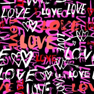 Fototapeta Wzór z ręcznie malowane słowa miłości