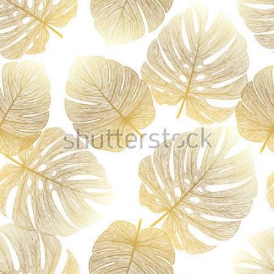 Fototapeta Wzór z tropikalną liść palmą. Ilustracji wektorowych.