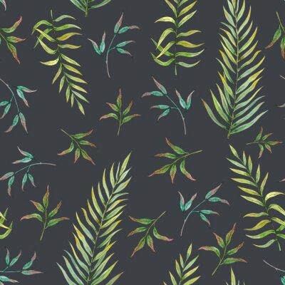 Fototapeta wzór z tropikalnych liści na ciemnym tle