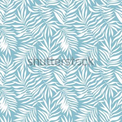 Fototapeta Wzór z tropikalnych liści palmowych. Piękny nadruk z ręcznie rysowanymi egzotycznymi roślinami. Projekt botaniczny stroje kąpielowe. Ilustracji wektorowych.
