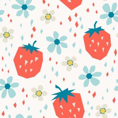 Fototapeta wzór z truskawek i kwiatów