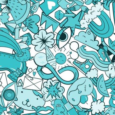 Fototapeta Wzorzec graffiti z miejskich ikon stylu życia. Szalony doodle streszczenie wektora tle. Trendy liniowe kolaże stylu z dziwacznymi elementami street art.