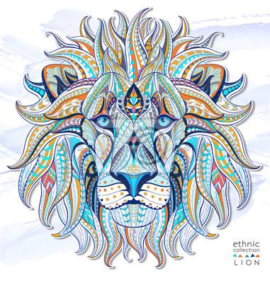 Fototapeta Wzorzyste głowa lwa na tle grunge. Afrykański / indian design / totem / tatuaż. Może być stosowany do projektowania t-shirt, torby, pocztówka, plakat i tak dalej.