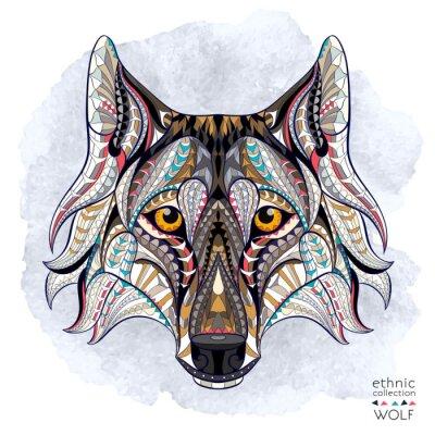 Fototapeta Wzorzyste głowa wilka na tle grunge. Afrykański / indian design / totem / tatuaż. Może być stosowany do projektowania t-shirt, torby, pocztówka, plakat i tak dalej.
