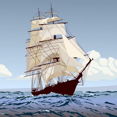 Fototapeta корабль с парусами бежит по волнам