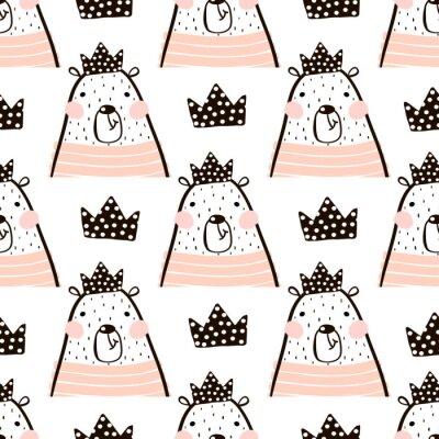 Fototapeta Bez szwu deseń z cute Niedźwiedź Dziewczyna niesie księżniczka. Doskonały do tkanin, textile.Vector tle