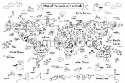 Fototapeta Coloring book map of the world. Ð¡artoon globe with animals. Black and white hand drawn vector illustration. Oceans and continent: South America, Eurasia, North America, Africa, Australia