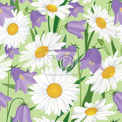 Fototapeta Drukuj, бесшовный фон из ромашек и колокольчиков, полевые цветы