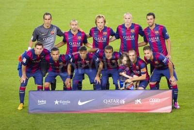 Fototapeta Gracze FCB pozowanie do zdjęć w Gamper meczu pomiędzy FC Barcelona i FC, klubu Leon 6-0, końcowy wynik 18 sierpnia 2014 roku w Camp Nou, Barcelona, Hiszpania