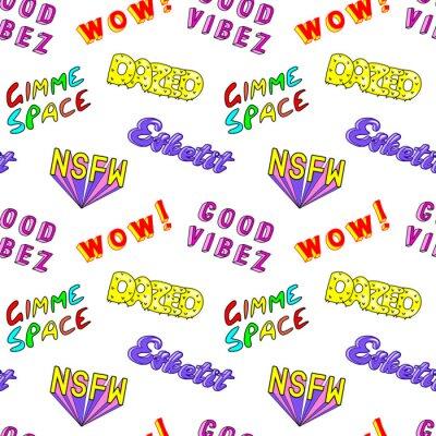 """Fototapeta Jednolity wzór z komiksowymi kolorowymi frazami, słowami: """"Dazed"""", """"Gimme space"""", """"Esketit"""", """"Wow"""", """"NSFW"""", itp. Modne naszywki, odznaki, przypinki, naklejki w stylu lat 80-90-tych. Białe tło."""