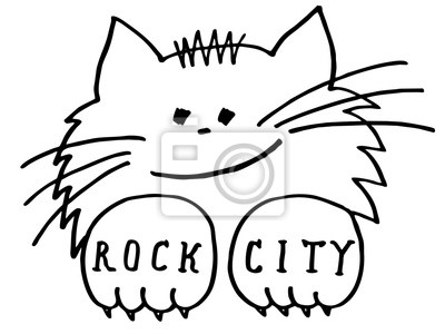 Fototapeta Kot Tatuaż Rock City Kot Jest Tatuaż Druk Plakaty Koszulki