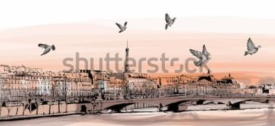 """Fototapeta Widok na Paryż z """"Pont des arts"""" - ilustracji wektorowych"""