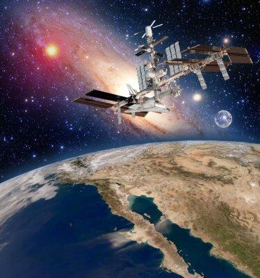 Fototapeta Ziemia astronomia satelita międzynarodowej stacji kosmicznej ISS meteorologii Droga Mleczna. Elementy tego zdjęcia dostarczone przez NASA.