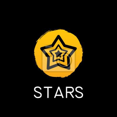 Fototapeta yellow star icon on black background