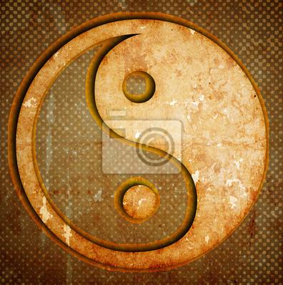 Fototapeta Yin Yang symbolu na grunge
