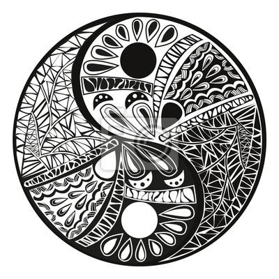 Yin Yang Tatuaż Dla Projektu Ilustracji Symbol Fototapeta