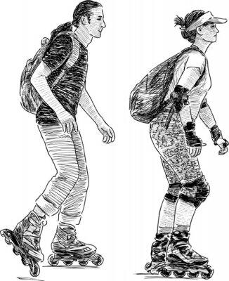 Fototapeta young people skating