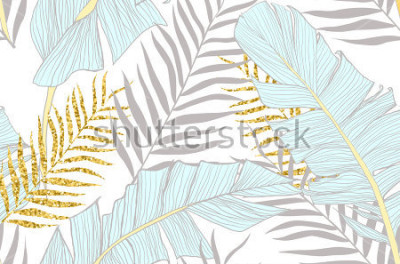 Fototapeta Z wzorem bananowym i złotymi palmowymi liśćmi w wektorze