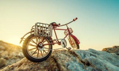 Fototapeta zabawki retro rower nad morzem