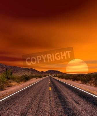 Fototapeta Zachód słońca drogowego pustyni Sonora i gór Arizona