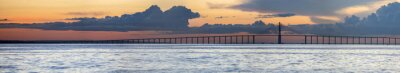 Fototapeta Zachód słońca i Manaus Iranduba Most nad Amazonii w Brazylii