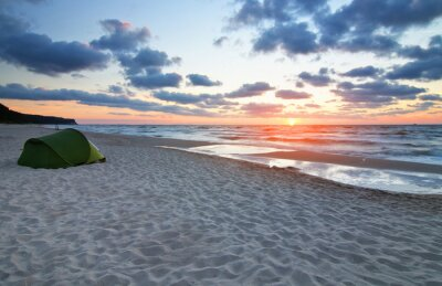 Fototapeta Zachód słońca na plazy Morze Bałtyckie