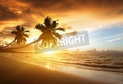 Fototapeta zachód słońca na plaży w Morzu Karaibskim