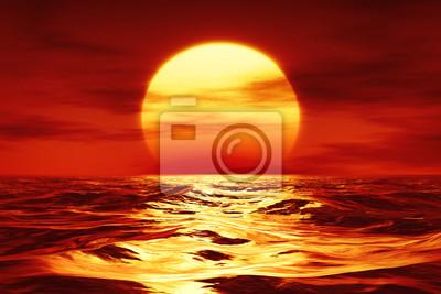 Fototapeta zachód słońca nad dzikim morzem