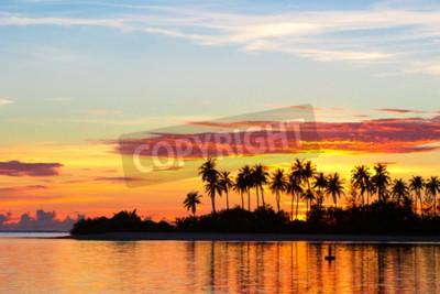Fototapeta Zachód słońca nad morzem z ciemnymi sylwetkami palm i niesamowite pochmurne niebo