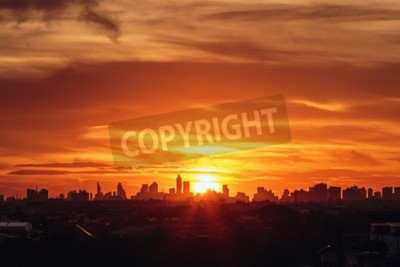 Fototapeta Zachód słońca w mieście Bangkok z sylwetką budynku