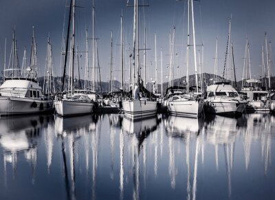 Fototapeta Żaglowiec port w godzinach wieczornych
