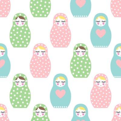 Fototapeta Zagnieżdżone lalka szwu. Śliczne drewniane Rosyjska lalka - Matrioszka. Pastelowe kolory zagnieżdżone lalka Matrioszka ilustracja na białym tle.