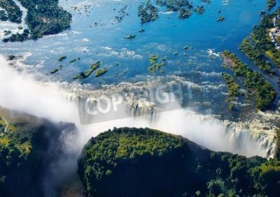 Fototapeta Zambezi rzeki i Victoria Falls, widok z lotu ptaka