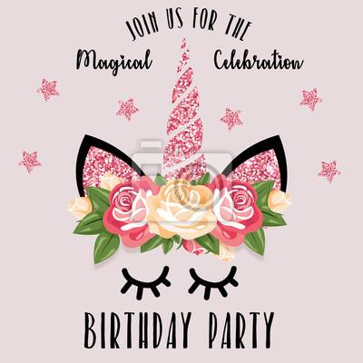 Zaproszenie Na Przyjęcie Urodzinowe Z Jednorożcem Fototapeta