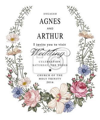 Zaproszenie Na ślub Piękne Kwiaty Kwitnące Vintage Kartkę Z