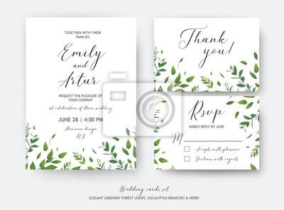 Zaproszenie Na ślub Zaproszenie Rsvp Dziękuję Karty Wektor