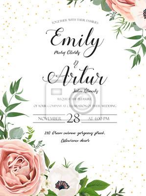 Zaproszenie ślubne Kwiatowy Zaproszenie Projekt Karty Róża Różowy