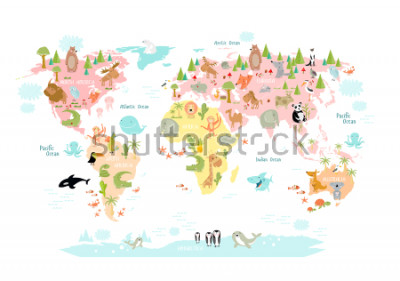 Fototapeta Zawiera mapę świata ze zwierzętami dziecięcymi dla dzieci. Europa, Azja, Ameryka Południowa, Ameryka Północna, Australia, Afryka. Lew, krokodyl, kangur. koala, wieloryb, niedźwiedź, słoń, rekin, wąż,