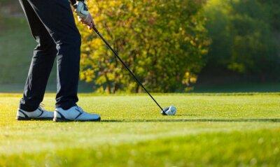 Fototapeta Zbliżenie mężczyzna gra w golfa na zielonym kursu