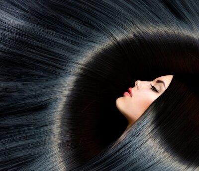 Fototapeta Zdrowe długie czarne włosy. Piękna Brunetka Kobieta