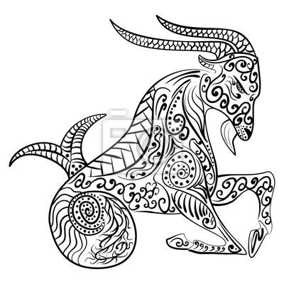 Fototapeta Zentangle Zodiaku Koziorożec Ilustracji Wektorowych