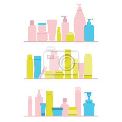 Fototapeta zestaw butelek kosmetycznych na półce