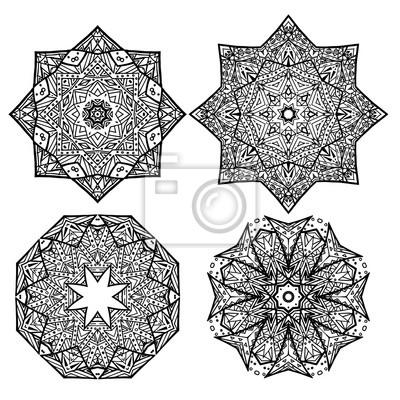Fototapeta Zestaw Czarno Białe Okrągłe Płatki śniegu Mandalas Element Wektorowy