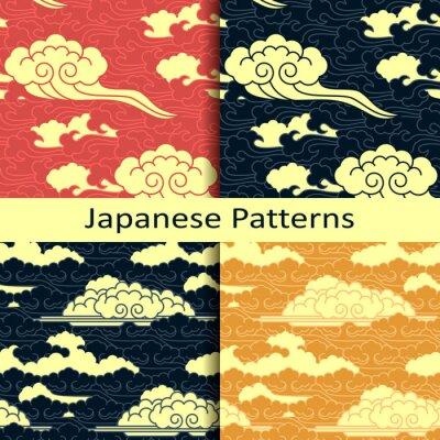 Fototapeta Zestaw czterech japońskich tradycyjnych wzorów pochmurnych